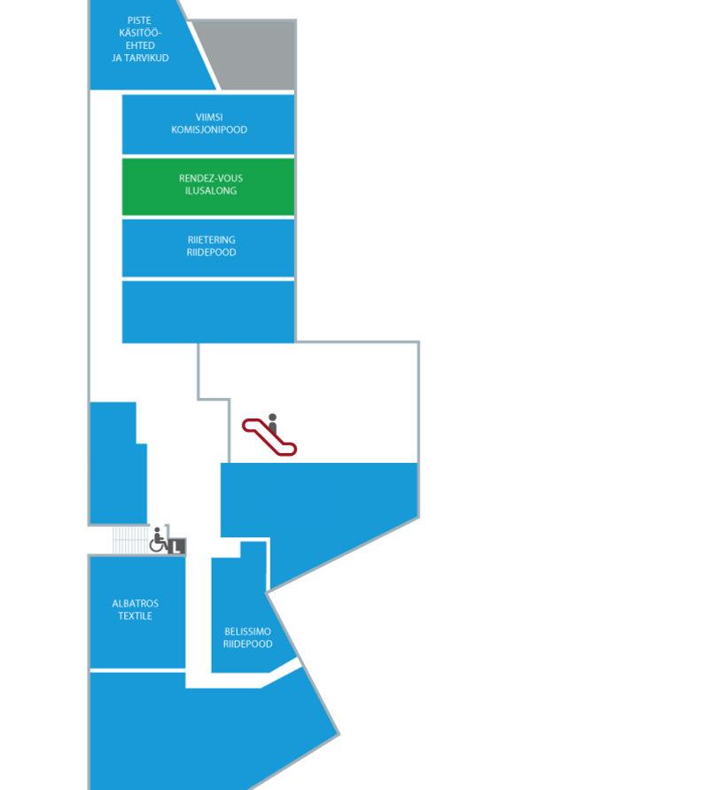 Viimsi Kaubansduskeskuse majaplaan II korrus