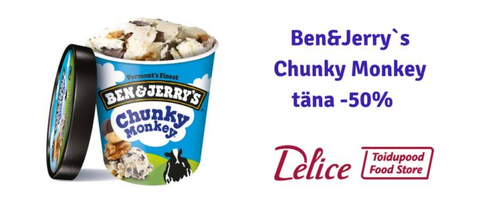 Ben&Jerrys Chunky Monkey täna Delice toidupoes -50%