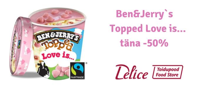 Delice toidupoes Ben&Jerrys Love Is jäätis -50%